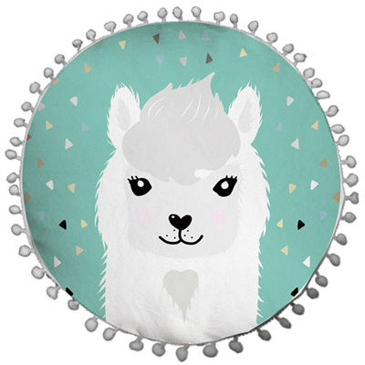 Pom Pom Snow Lama Cushion