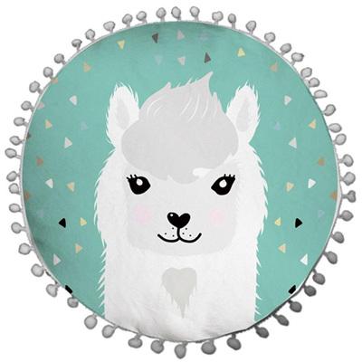 Pom Pom Snow Lama Cushion