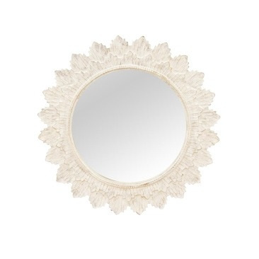 Poppy Wooden Mirror - White Wash - 120cmd
