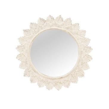 Poppy Wooden Mirror - White Wash - 120cmd