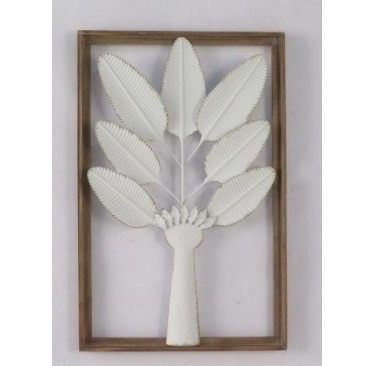 Pressed Tin Wall Art - Palm Tree White/Gold W Natural Frame
