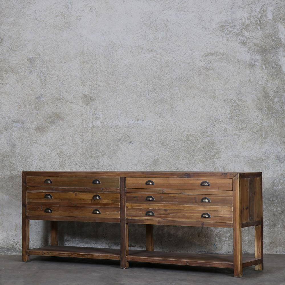 pine console table. Printmakers Four Drawer Pine Console Table