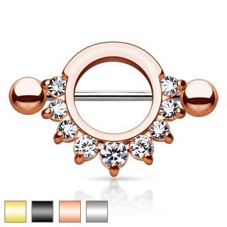 Prong Set Gem Circle Nipple Shield