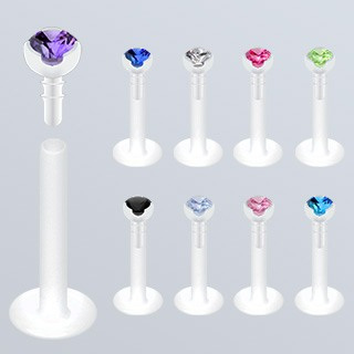 Prong set Gemed Bio-Flex Push-in Labret 16g