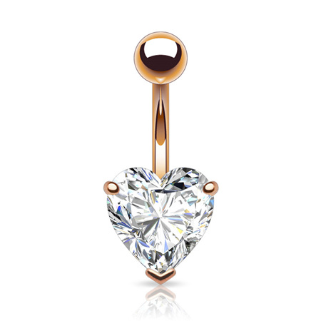 Prong Set Rose Gold Plated CZ Heart Navel Bar