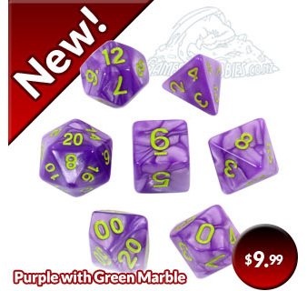 Purple and Green Marble Polyhedral Dice