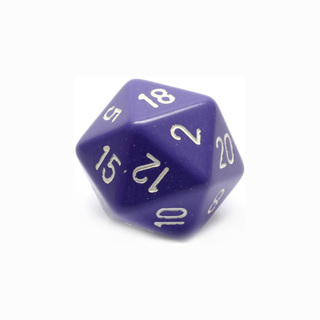 Purple with White Large Twenty Sided Dice