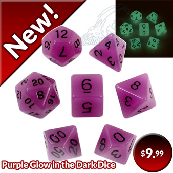 Purple Glow in the Dark Dice