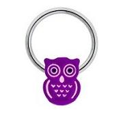 Purple Owl Captive Bead Ring