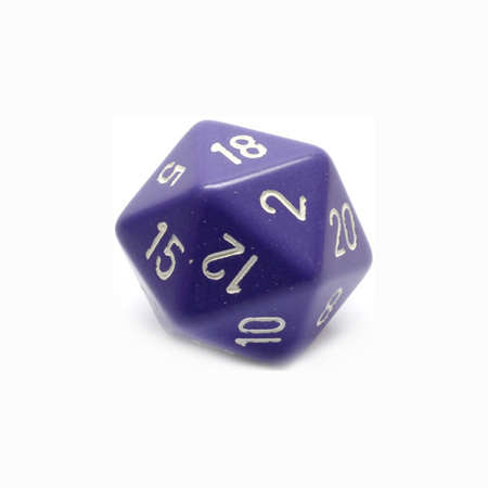 Purple with White Large Twenty Sided Dice