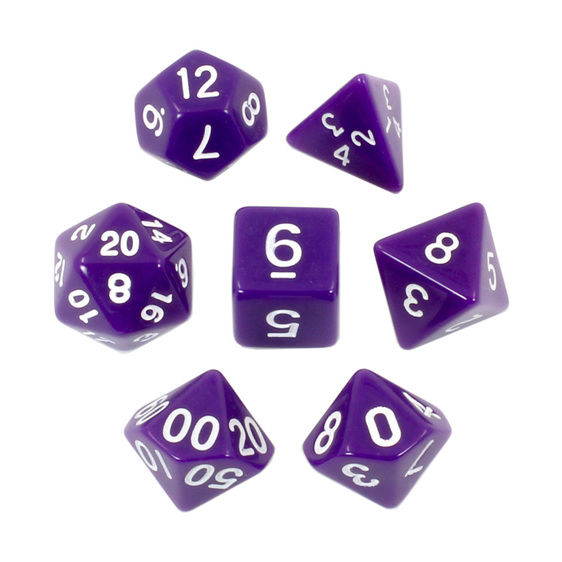 Purple with White Standard Polyhedral Dice Games and Hobbies New Zealand NZ