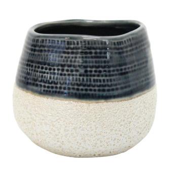 Rasta Ceramic Planter - Navy & White 12.5cmh