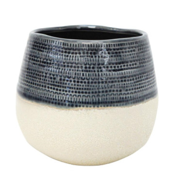 Rasta Ceramic Planter - Navy & White 16cmh