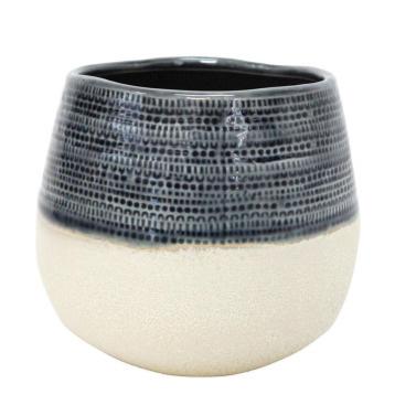 Rasta Ceramic Planter - Navy & White 16cmh