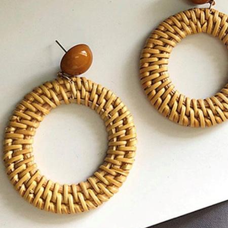Rattan Earrings Wreath