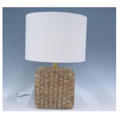 Rattan Resin Lamp - White Shade