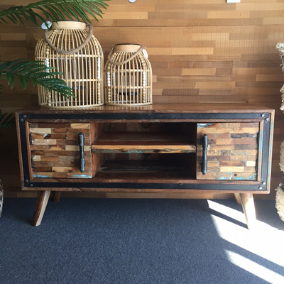 Reclaimed Wood With Iron Detail Entertainment Unit
