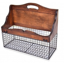 Rectangle Wall Basket Mesh with Wood Trim