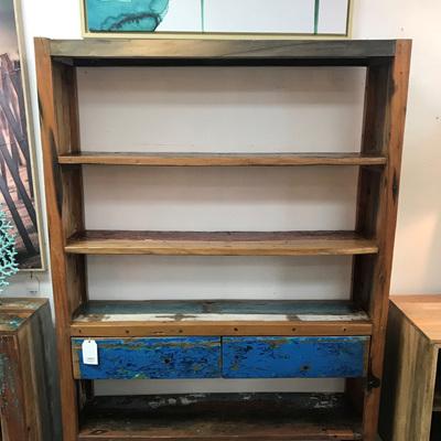 Recycled Boatwood Bookshelf 2 Drawer