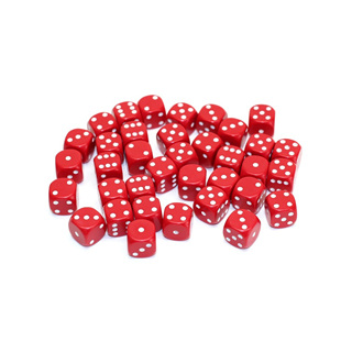 36 Red and White Six Sided Dice (12mm)
