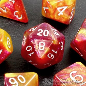 Red and Yellow with Silver Stardust Polyhedral Dice Games and Hobbies NZ