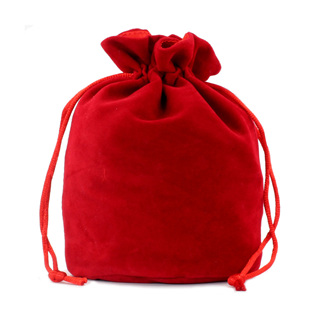Red Velveteen Drawstring Bag
