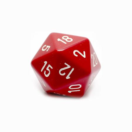 Red with White Large Twenty Sided Dice