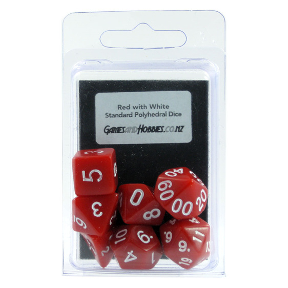 Red with White Standard Polyhedral Dice Games and Hobbies New Zealand NZ