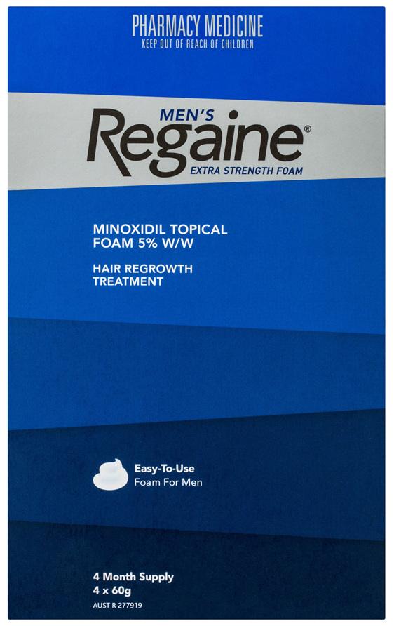 Regaine Men's Extra Strength Minoxidil Foam Hair Regrowth Treatment 4 x 60g