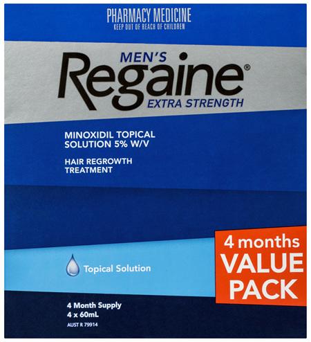 Regaine Men's Extra Strength Minoxidil Hair Loss Regrowth Treatment 4 x 60mL