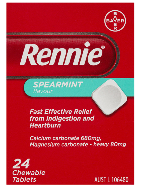 Rennie Indigestion and Heartburn Relief Spearmint 24 Chewable Tablets