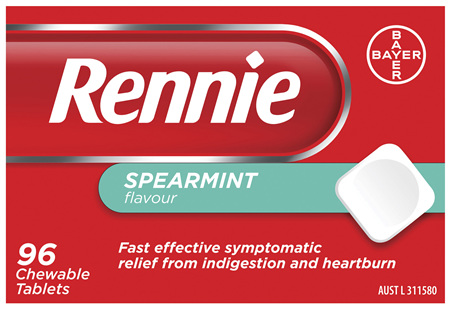 Rennie Indigestion and Heartburn Relief Spearmint 96 Chewable Tablets