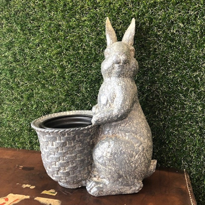 Resin Rabbit w/ Flower Pot