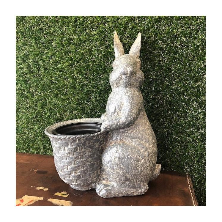 Resin Rabbit w/ Flower Pot