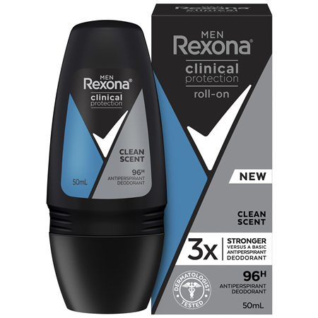 REXONA For Men Clinical Protection Antiperspirant Roll On Deodorant Clean Scent 50 ML