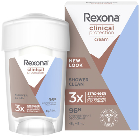REXONA Women Antiperspirant Cream Clinical Shower Clean 45ml