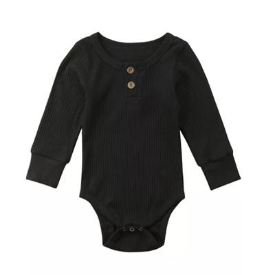 Ribbed Henley Long Sleeve Tee - Black
