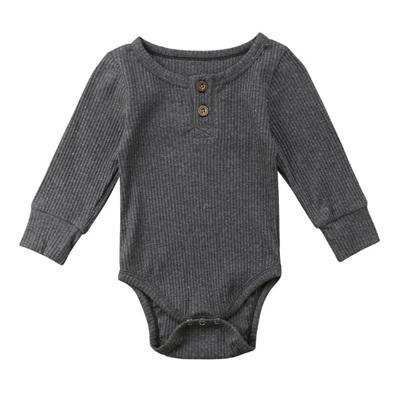 Ribbed Henley Long Sleeve Tee - Grey