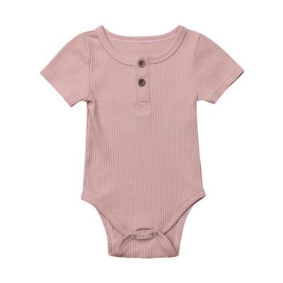 Ribbed Henley Short Sleeve Romper - Blush