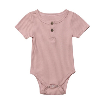 Ribbed Henley Short Sleeve Romper - Blush