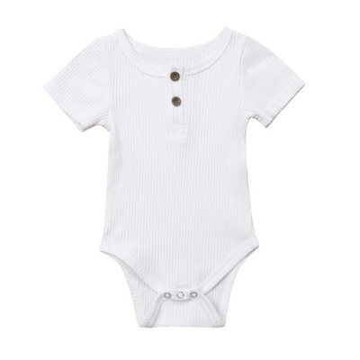 Ribbed Henley Short Sleeve Romper - White