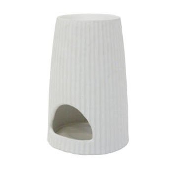 Ribbed Oil Burner - Matt White - 15.2cmh