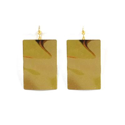 Ripple Rectangle Earrings - Gold