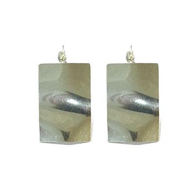 Ripple Rectangle Earrings - Silver