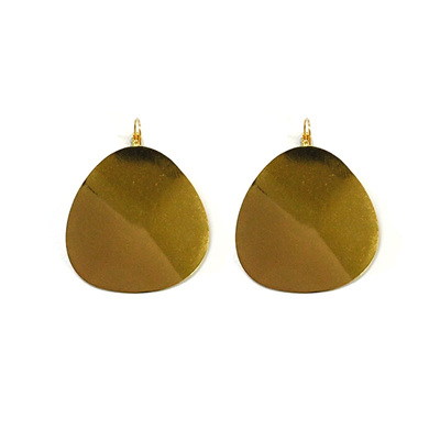 Ripple Round Earrings - Gold
