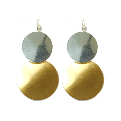 Ripple Saturn Earrings - Silver/Gold