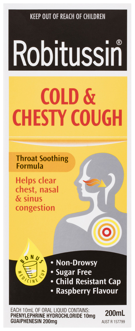 Robitussin Cold & Chesty Cough, Cough Liquid 200mL