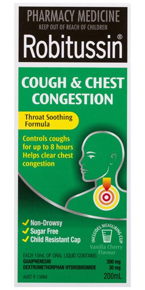 Robitussin Cough & Chest Congestion Vanilla Cherry 200mL