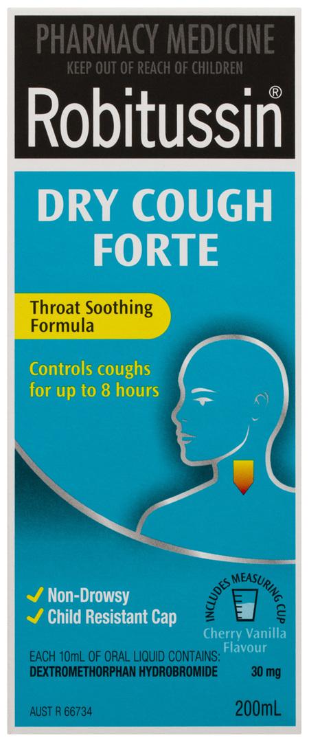 Robitussin Dry Cough Forte Cherry Vanilla 200mL