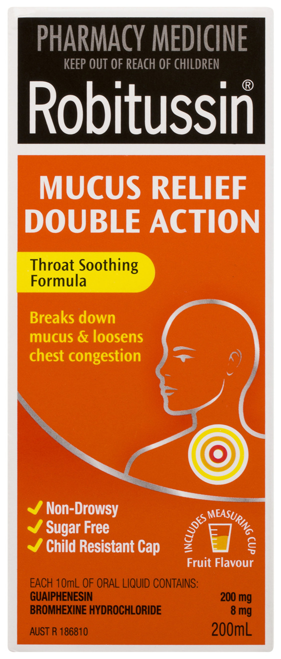 Robitussin Mucus Relief Double Action Fruit Flavour 200mL